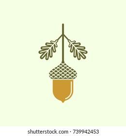 Acorn flat vector icon or logo. Vector illustration of an acorn
