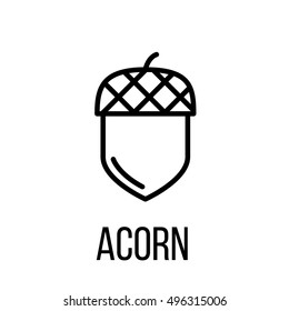 Acorn icon or logo in modern line style. High quality black outline pictogram for web site design and mobile apps. Vector illustration on a white background.