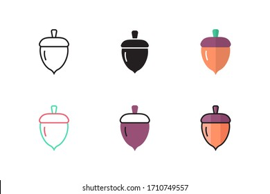 acorn icon vector illustration with different style design. isolated on white background