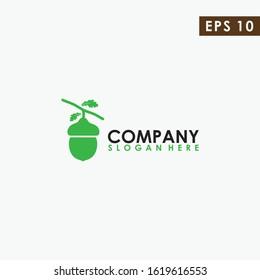 Acorn With Leaf Logo Design Vector Template. Modern Design. Vector Illustration.
