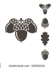Acorn. Logo. Stylized acorns on white background. Vector illustration