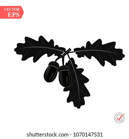 Acorn with oak leaves vector icon. black color for any design. Vector geometric illustration eps