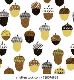 Acorn seamless pattern. Vector illustration. Autumn surface decoration.