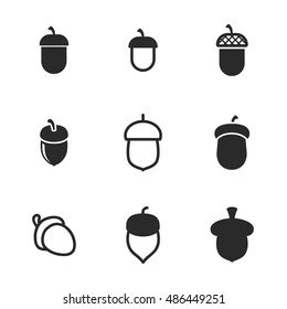 Acorn vector icons. Simple illustration set of 9 acorn elements, editable icons, can be used in logo, UI and web design