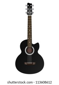 Acoustic classic guitar illustration isolated on white background, vector