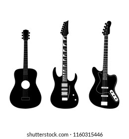 Acoustic, electric and bass guitar in black color