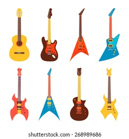 acoustic and electric guitars set. flat style vector illustration
