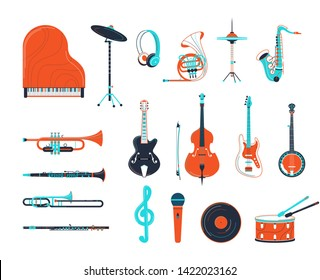 Acoustic and electric musical instruments illustrations set. Guitar, grand piano, banjo isolated design elements. Trumpet, saxophone, flute woodwind instruments. Retro music record and microphone