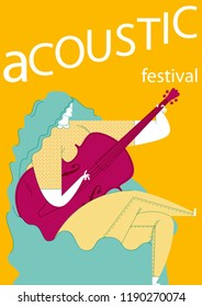 ACOUSTIC FESTIVAL. THE CELLIST WOMAN. A serie of music festivals posters. Funny and cool drawings.