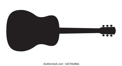 Acoustic guitar black silhouette. Music instrument icon. Vector illustration.