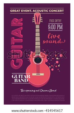 acoustic guitar concert flyer template retro のベクター画像素材