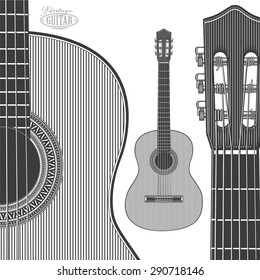 Acoustic Guitar in engraving style. Vector illustration isolated grouped, transparent background