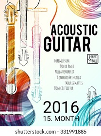 Acoustic guitar event design for flyer, poster, invitation. Vector illustration