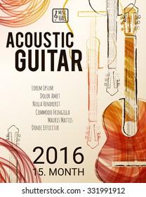 Acoustic guitar event design for flyer, poster, invitation. Vector illustration
