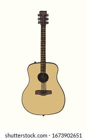 Acoustic guitar, hand drawn doodle gravure vintage style, sketch, color vector illustration