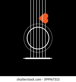 Acoustic Guitar with Heart, Love Music Concept, Vector Illustrator eps10