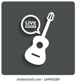 Acoustic guitar icon. Live music symbol. Karaoke symbol. Restaurant flat icon. Vector illustration.