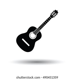 Acoustic guitar icon. White background with shadow design. Vector illustration.