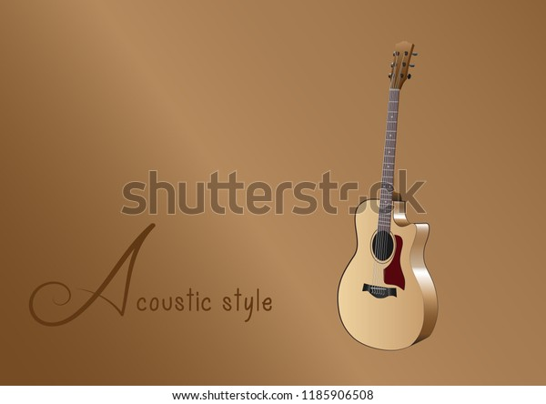 Acoustic Guitar Instrumental Graphic Design Stock Vector