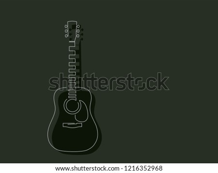 Acoustic Guitar Isolated Line Drawing Vector Stock Vector Royalty