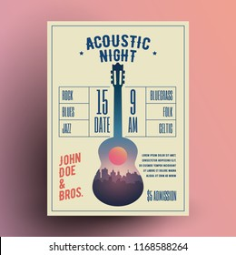 Acoustic Guitar Live Music Night Party Concert Poster or Flyer or Banner Template. Vector Illustration.