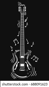 Acoustic guitar makes a sound. Black and white guitar with notes. Musical instrument. Musical emblem. Isolated stylish art. Modern grunge and rock style. Tattoo.
