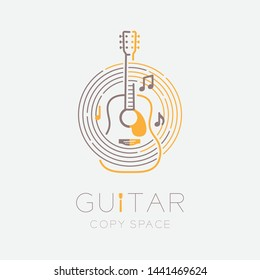 Acoustic guitar, music note with line staff circle shape logo icon outline stroke set dash line design illustration isolated on grey background with guitar text and copy space