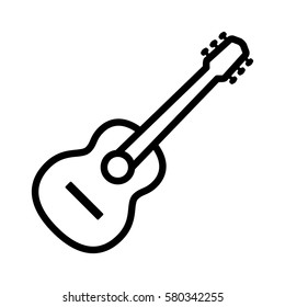 Acoustic guitar musical instrument line art vector icon for music apps and websites