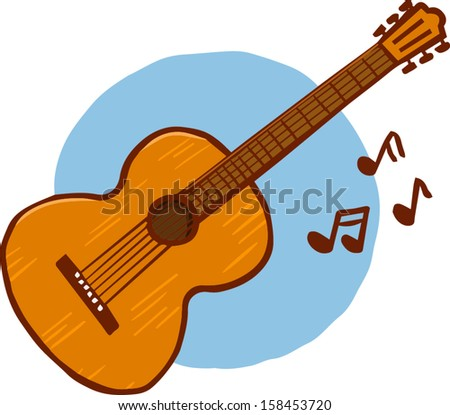 Acoustic Guitar Musical Notes Vector Illustration Stock Vector