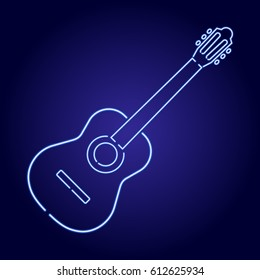 Acoustic guitar neon blue glowing of vector illustration