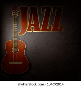 acoustic guitar on abstract grunge gray background
