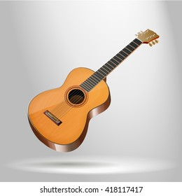 Acoustic guitar - photorealistic vector illustration on a white background in 3D style, the most detailed.