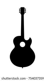 Acoustic Guitar Silhouette. Vector Illustration Of Hand Drawn Acoustic Guitar Silhouette.