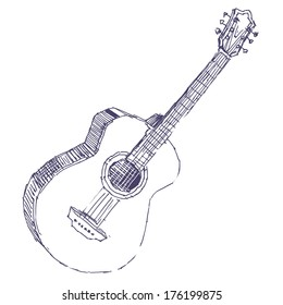 Acoustic guitar sketch drawing isolated on white background