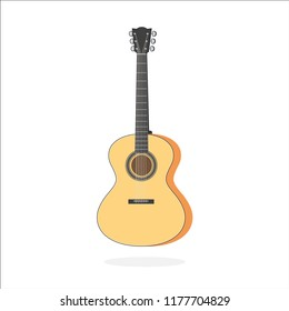Acoustic guitar, stringed musical instrument symbol. Vector illustration in trendy flat style isolated on white background