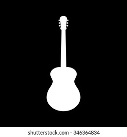 acoustic guitar vector icon isolated on black