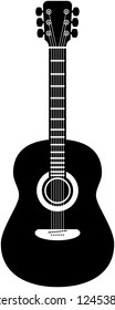 Acoustic guitar vector illustration in black and white