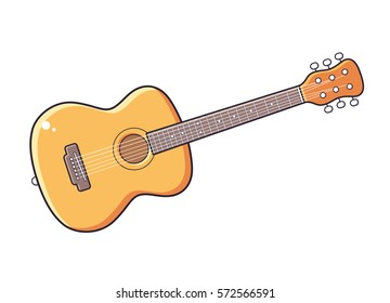 Acoustic guitar vector isolated.