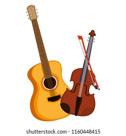 acoustic guitar and violin musical instrument
