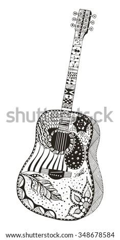 Zentangle Electric Guitar Drawings Worksheet And Wiring Diagram