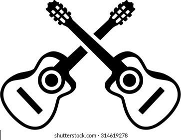 Acoustic guitars crossed