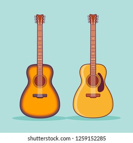 Acoustic guitars isolated on teal background. Flat line icon. Vector illustration.