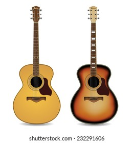 Acoustic guitars isolated on  white background. Vector illustration