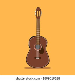 Acoustic guitars isolated on Yellow background. Vector illustration