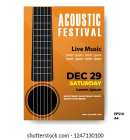 The acoustic music festival, Music poster, flyer, brochure template. vector illustration