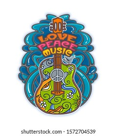 Acoustic stylized guitar from the time of Woodstock. Hippie style concept in retro colors for banner, card, t-shirt, bag, print, poster. Vector illustration. Pacifism pattern.