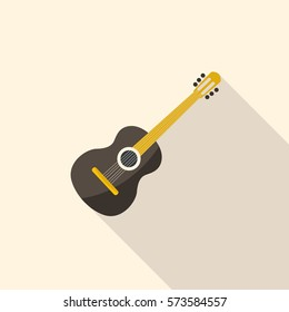 Acoustic wooden guitar. Musical string instrument in flat design.