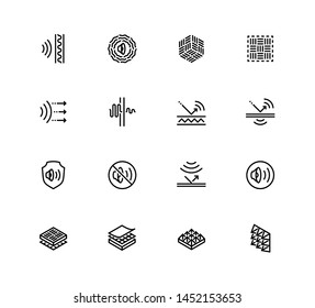 Acoustics and Acoustical Properties of Materials. Vector Icon set in Outline Style
