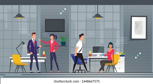 Acquaintance and Communication in New Office. Men and Women Actively Exchange Thoughts in Workplace Cartoon. Interior Office Space with Equipped Workplaces Flat. Vector Illustration.