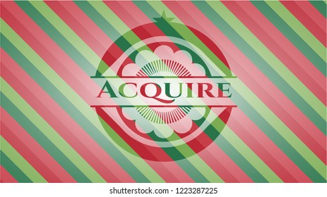 Acquire christmas colors emblem.